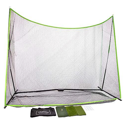 albatross Golf Practice Net 10 x 7 x 3 and 3 Surface Hitting Mat Bundle