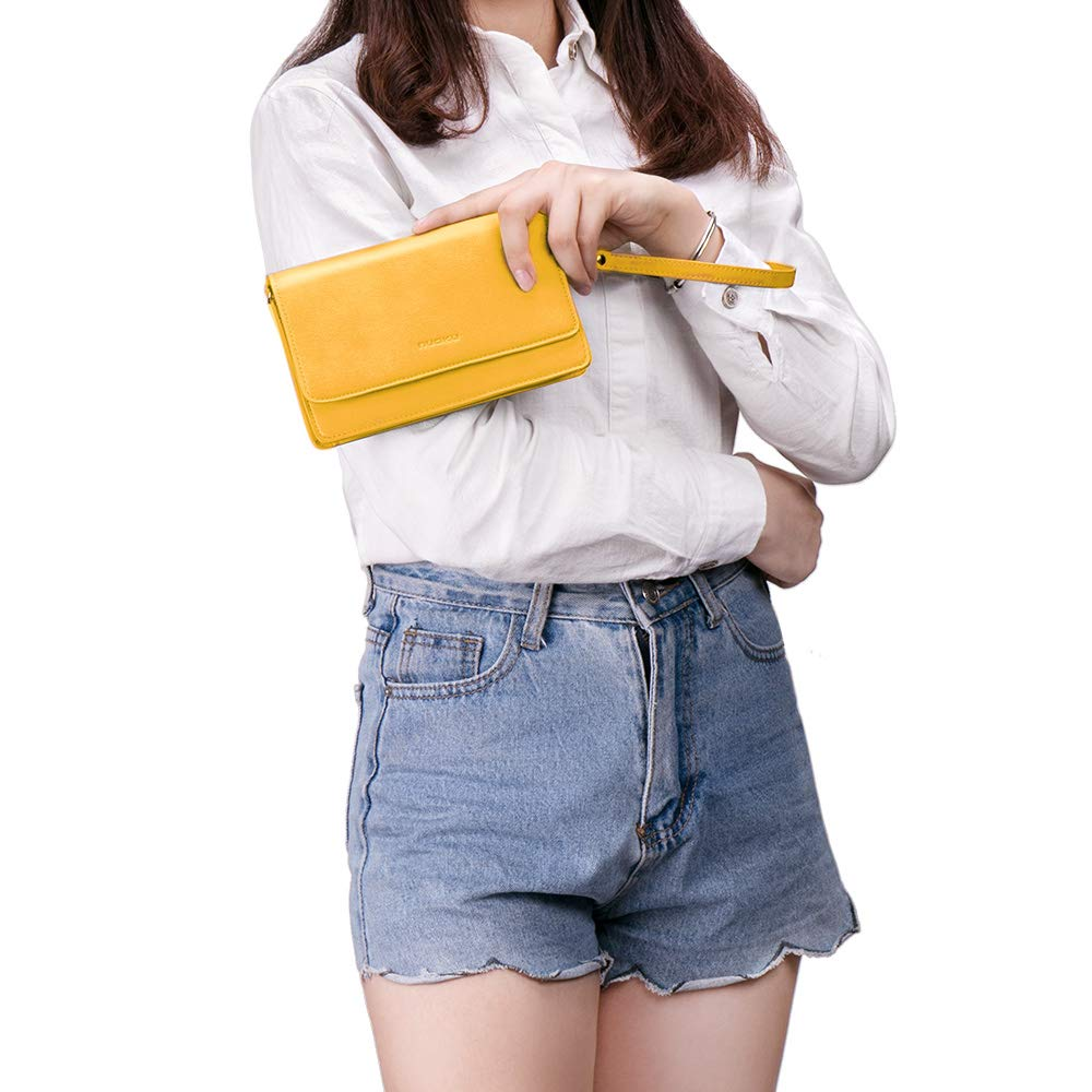 nuoku Women Small Crossbody Bag Cellphone Purse Wallet with RFID Card Slots 2 Strap Wristlet(Max 6.5'') … (Yellow) by nuoku (Image #9)