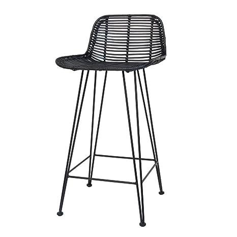 Pleasing Hk Living Scandi Style Rattan Breakfast Bar Stool In Black Ncnpc Chair Design For Home Ncnpcorg
