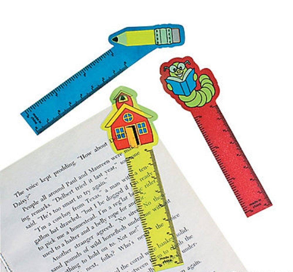 24 ~ School Ruler Bookmarks ~ Flexible Plastic ~ Approx. 5.5'' Long ~ New ~ Bookworm, Pencil, Schoolhouse