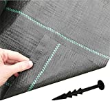 Trade - Mart 2M X 50M Plus 4''Pegs (Pk100) Weed Fabric Ground Cover Garden Membrane 100Gsm **Top Seller**