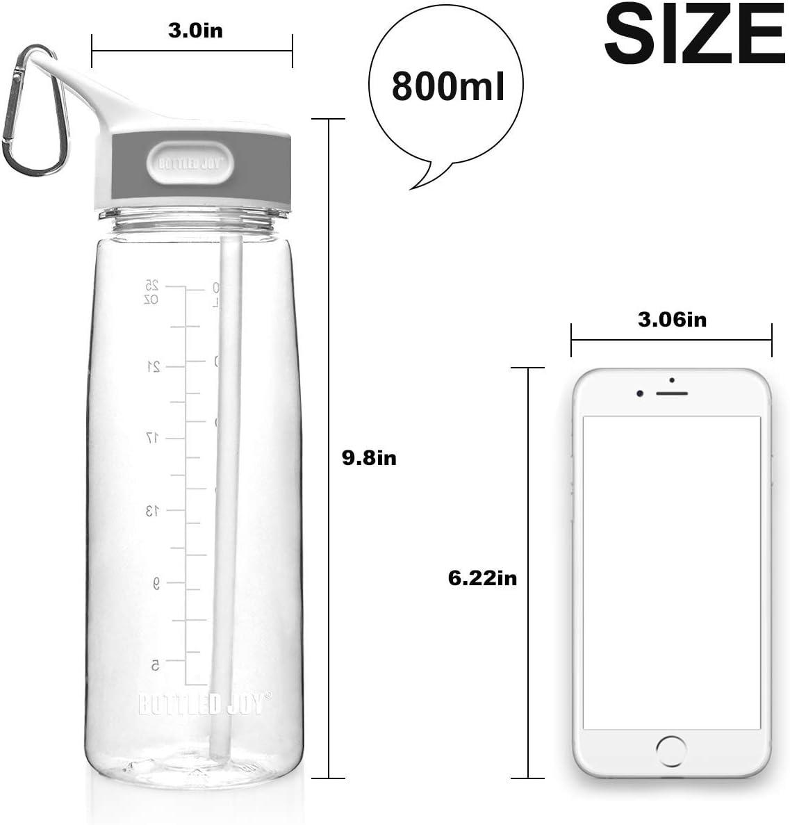 Clear Bottled Joy Water Bottle with Straw 800ml Durable Triton Gym Flip Sipper Bottle Dustproof Leakproof BPA Free with Marking