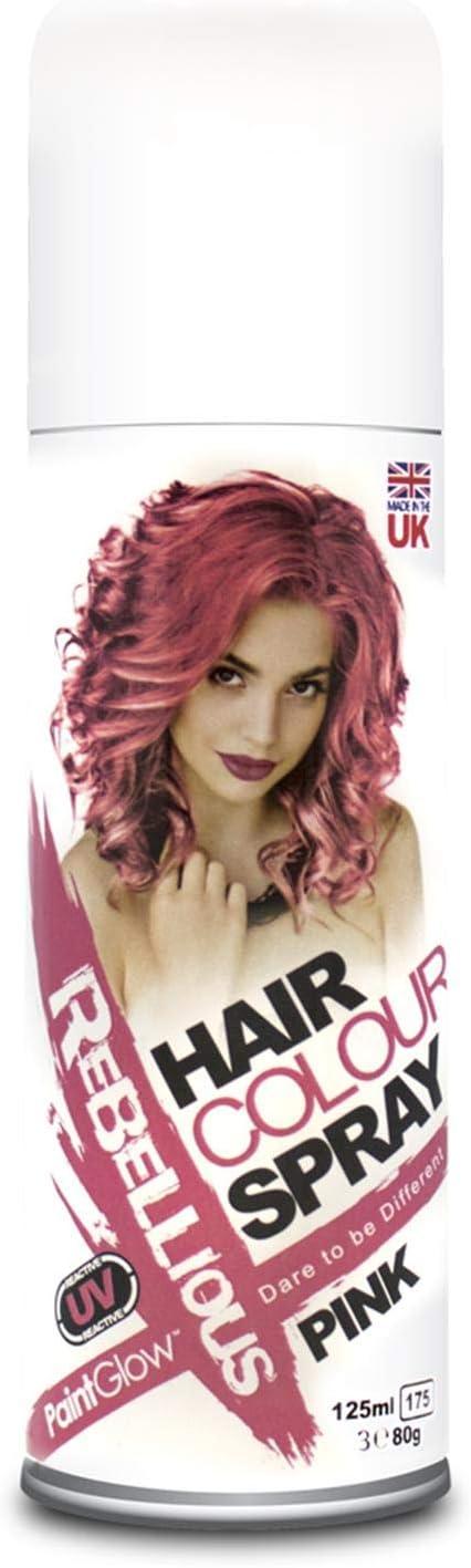 Paintglow - Espray ultravioleta para teñir el cabello, rosa, 125 ml