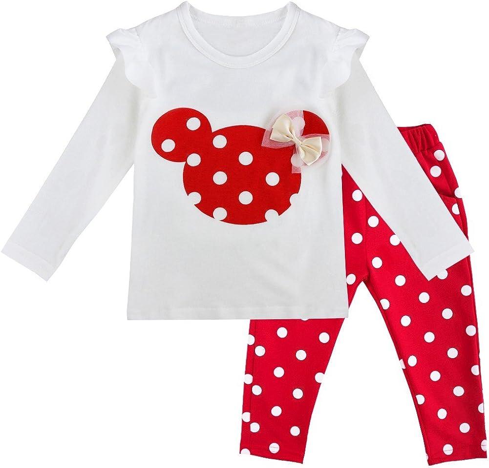 TiaoBug Babykleidung Baby M/ädchen Baumwolle Langarmshirt Bluse Top und Pink Dunkelblau Rot wei/ß Gepunktete Hose 80 86 92 98