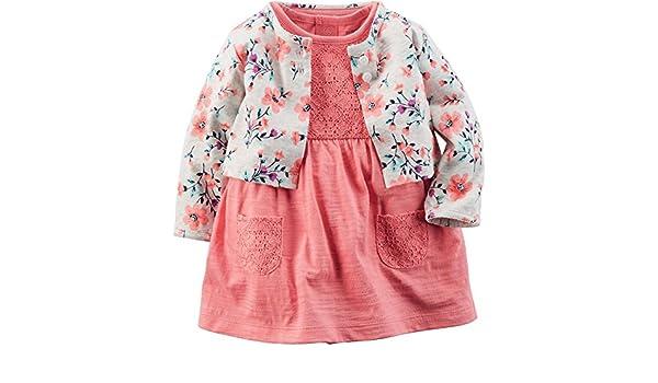 Carters bebé niña lunares Cardigan Dress Set: Amazon.es: Ropa y accesorios