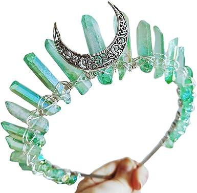 Handmade Artificial Raw Crystal Headband Quartz Moon Bridal Alloy Tiara Crown