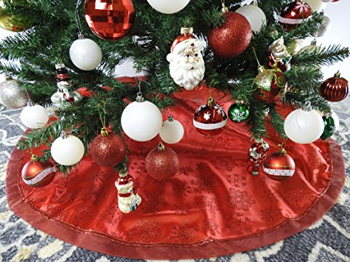 47.2'' Red Fabric With Red Snow Christmas Tree Skirt - Red/Snow by Christmas Elegance