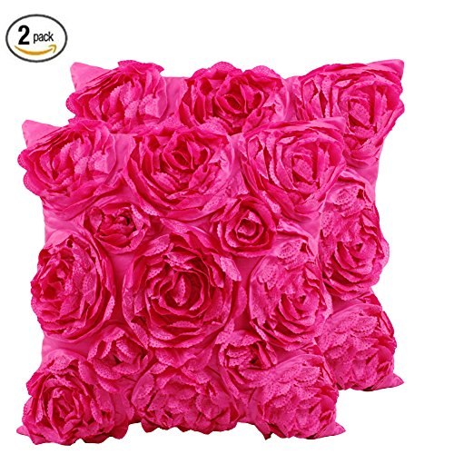 SeptCity Decorative Throw Pillow Covers for Couch Cushion Case, Romantic Love Satin Rose Wedding Party Home Decor, Home Gift (Set of 2) (Hot - Hot Pink Bedding