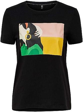 Only Camiseta Zabi Artsy Negro para Mujer S Negro: Amazon.es: Ropa y accesorios