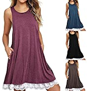 T-Shirt Dresses, DaySeventh Women O Neck Casual Pockets Sleeveless Above Knee Dress Loose Party Dress