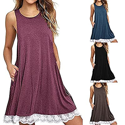 T-Shirt Dresses, DaySeventh Women O Neck Casual Pockets Sleeveless Above Knee Dress Loose Party Dress