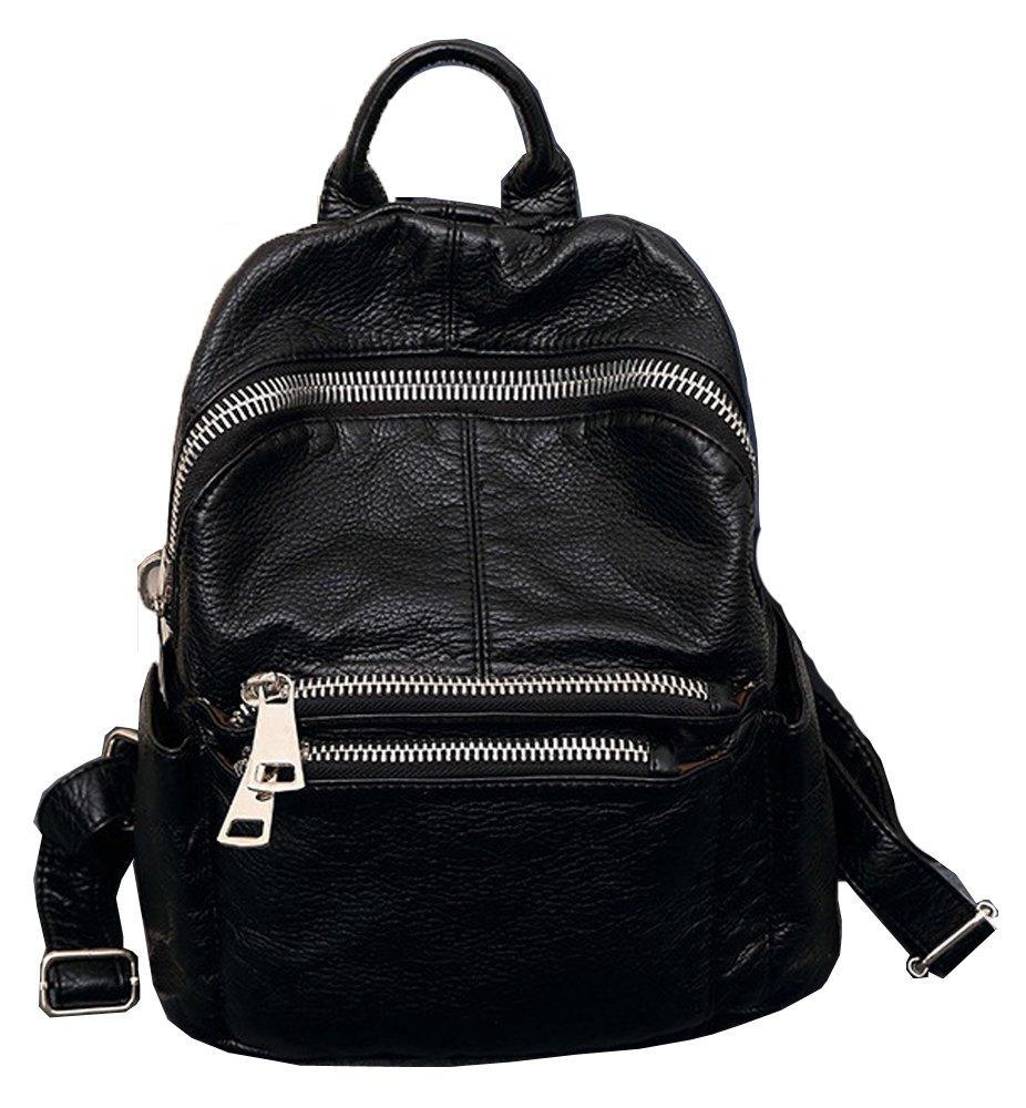 PU Backpack for Ladies Girl鈥檚 School Bag Casual Daypack Satchel Zipper Closure Backpack - Black