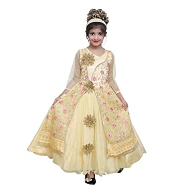 ishika gold net gown (10-11 Years)  Amazon.in  Clothing   Accessories 8c2608d51