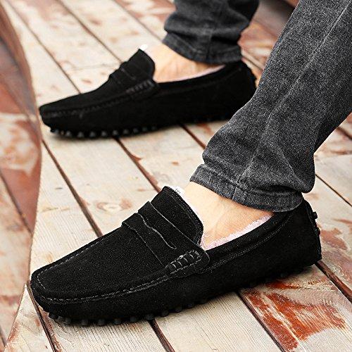 CFP 2088W Mens Plus Velvet Loafers Flat Stylish Casual Slip-on Moccasins Driving Sneakers Black FAZPA15Q