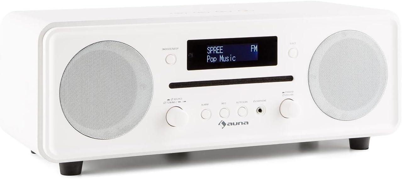 Auna Melodia Radio Dab Bluetooth (minicadena con Reproductor de CD, Dab+/FM, Alarma, AUX, Elegante diseño, Mando a Distancia) - Blanco