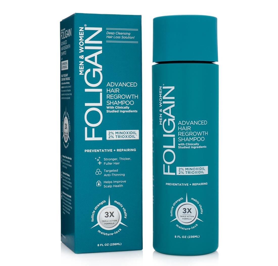 FOLIGAIN ADVANCED HAIR REGROWTH SHAMPOO with 2% Minoxidil & 2% Trioxidil (8oz) 236ml