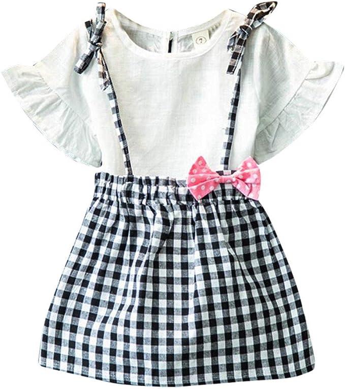 OverDose niñas Conjunto de Ropa de algodón Suave para niñas Manga ...