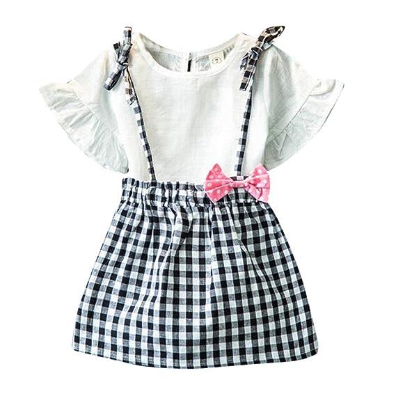 53f392ce6107 OverDose niñas Conjunto de Ropa de algodón Suave para niñas Manga Corta  Camiseta + Falda Corta: Amazon.es: Ropa y accesorios