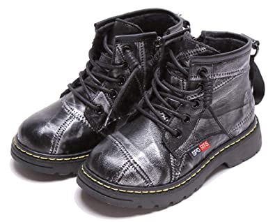 Vogana Boys Round Toe Leather Ankle Boot Zip Snow Boots