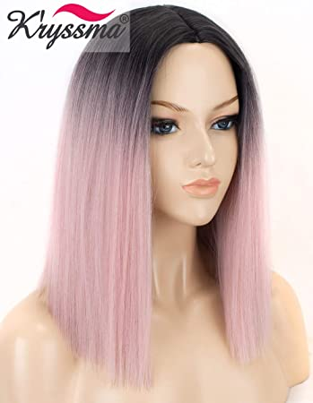 K ryssma Ombre Pink Synthetic Wig with Dark Roots Short Bob Wigs for Women 2 0a81fdc3e7