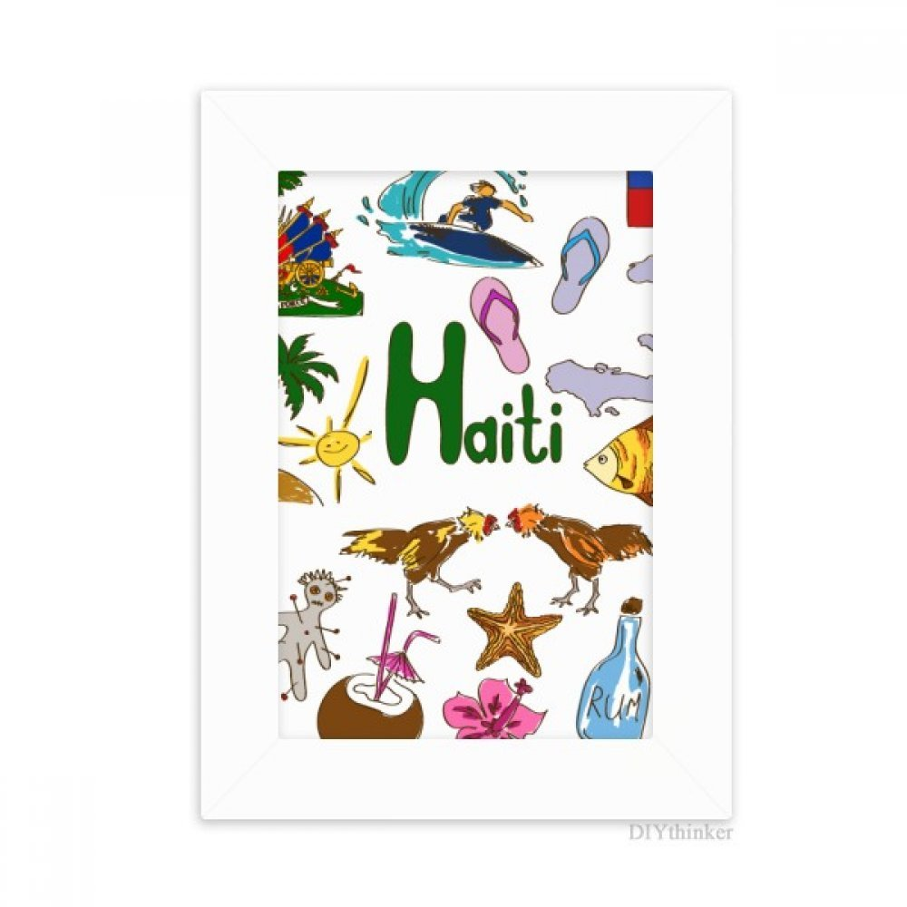 DIYthinker Haiti Landscap Animals National Flag Desktop Photo Frame Picture White Art Painting 5x7 inch