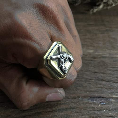 Vintage Cross ring for men made of brass and silver mexico style