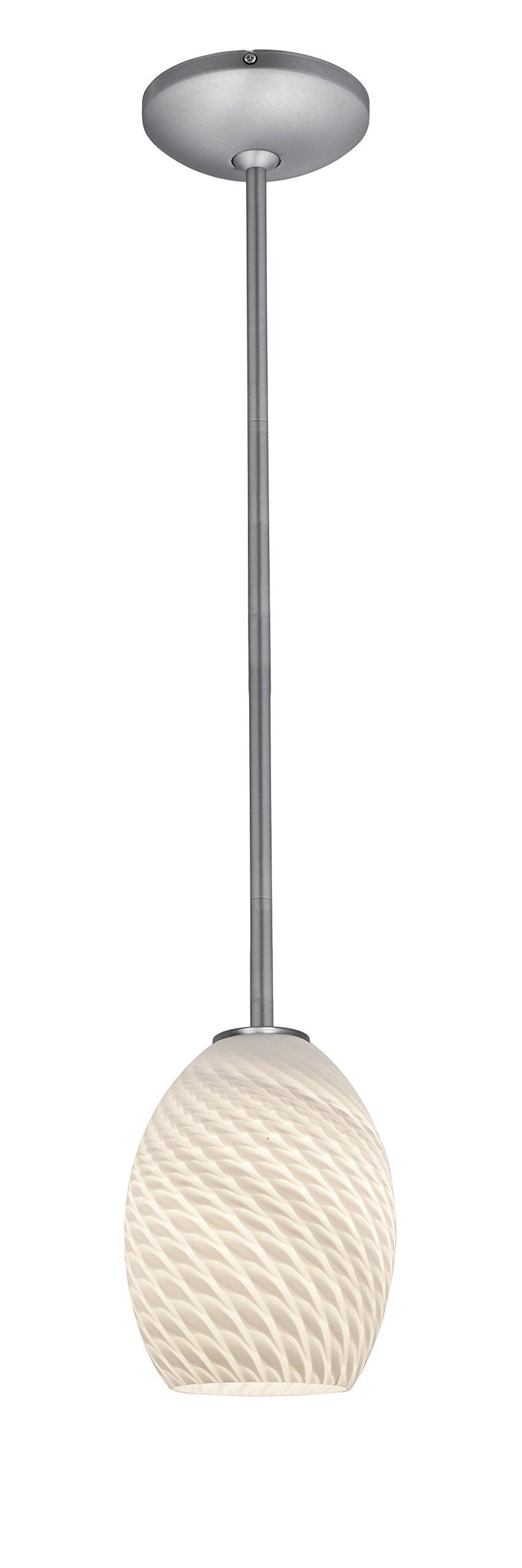 Brandy FireBird Glass Pendant - 1-Light Pendant - Rods - Brushed Steel Finish - White Firebird Glass Shade