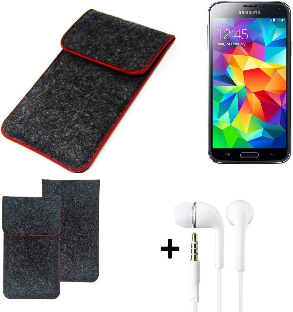 K-S-Trade Funda Protectora De Fieltro Compatible con Samsung Galaxy S5 Duos LTE Estuche Bolsa Bolsillo Carcasa Cubierta Gris Oscuro Borde Rojo + Auriculares: Amazon.es: Electrónica