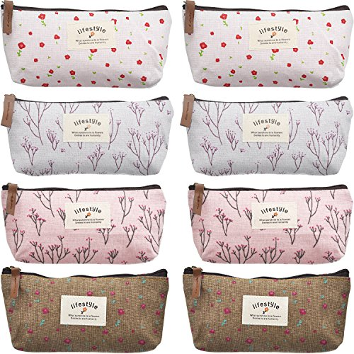 TecUnite 8 Pieces Pen Case Pencil Bag Canvas Pencil Pen Case