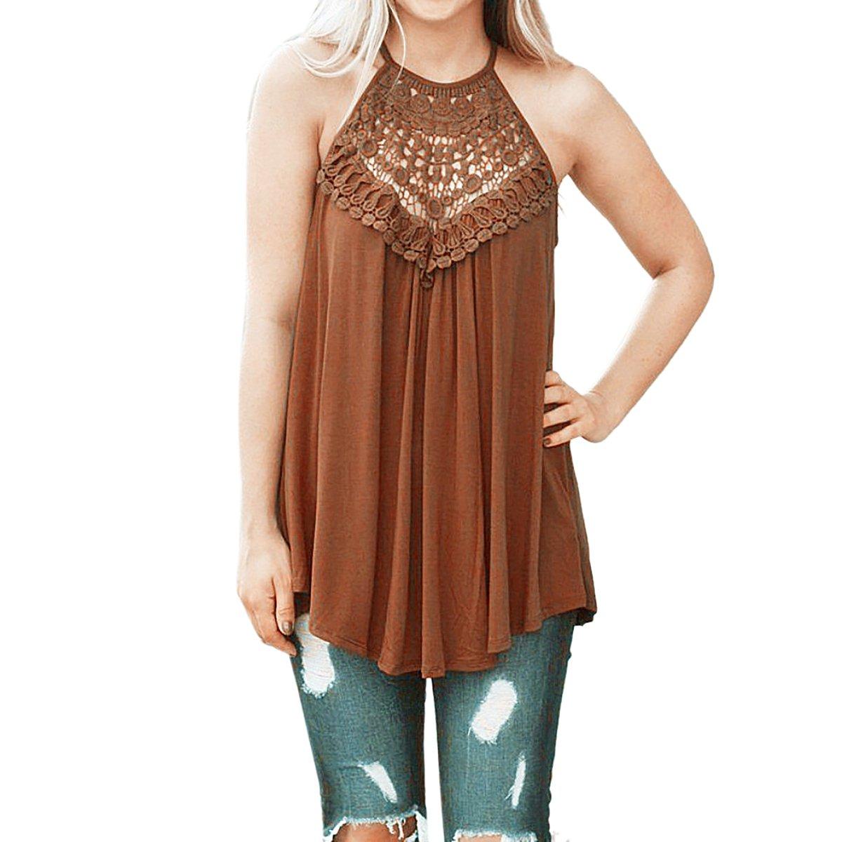 YF Women Summer Cool Casual Sleeveless Tank Top Loose Lace T-Shirt Top Yin Feng YF120657B