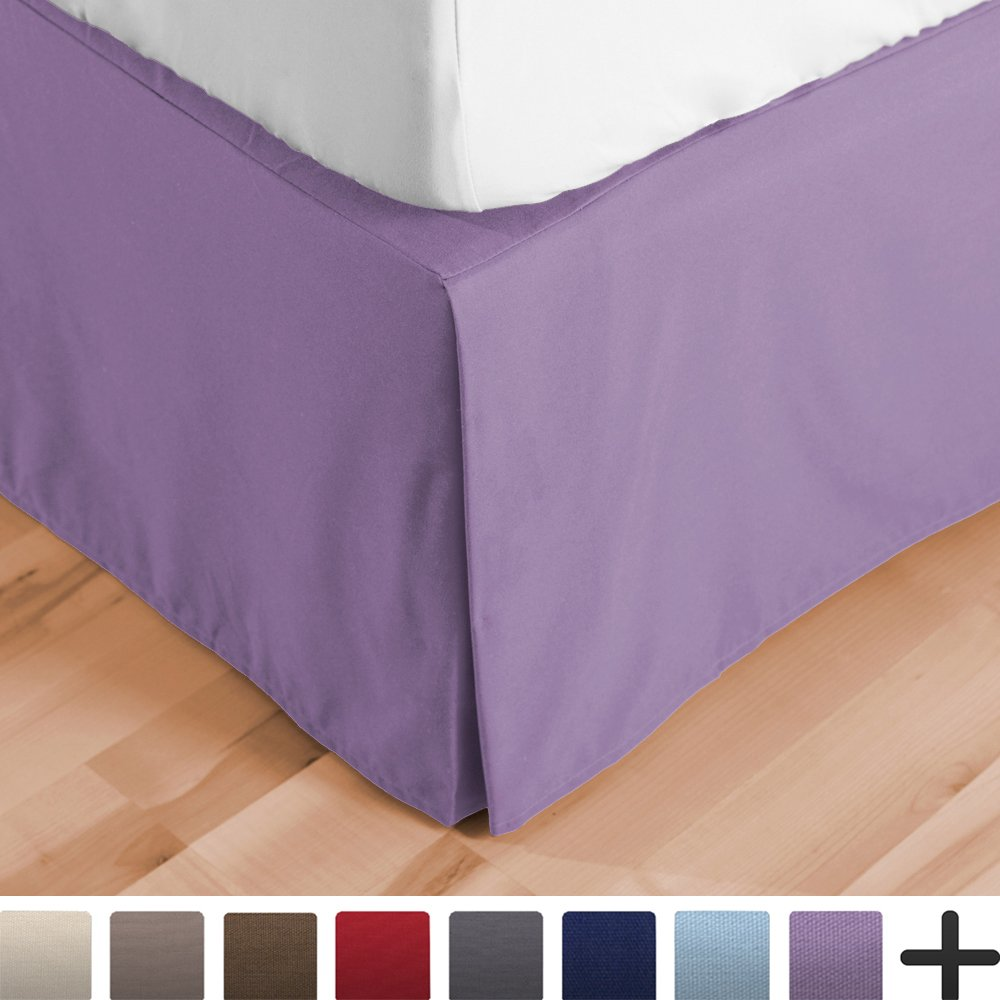 Bare Home Bed Skirt Double Brushed Premium Microfiber, 15-Inch Tailored Drop Pleated Dust Ruffle, 1800 Ultra-Soft, Shrink and Fade Resistant (Queen, Lavender)