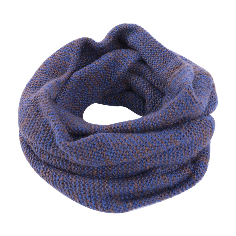 Cdet. Warm Knitted Velvet Winter Circle Scarf Skiing Loop Scarf Outdoor Sport Scarf Blue