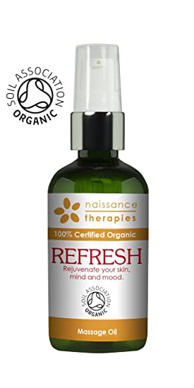 Naissance Refrescante - Aceite de Masaje BIO 100ml - Certificado Ecológico - con aceite de argán, jojoba y ciprés