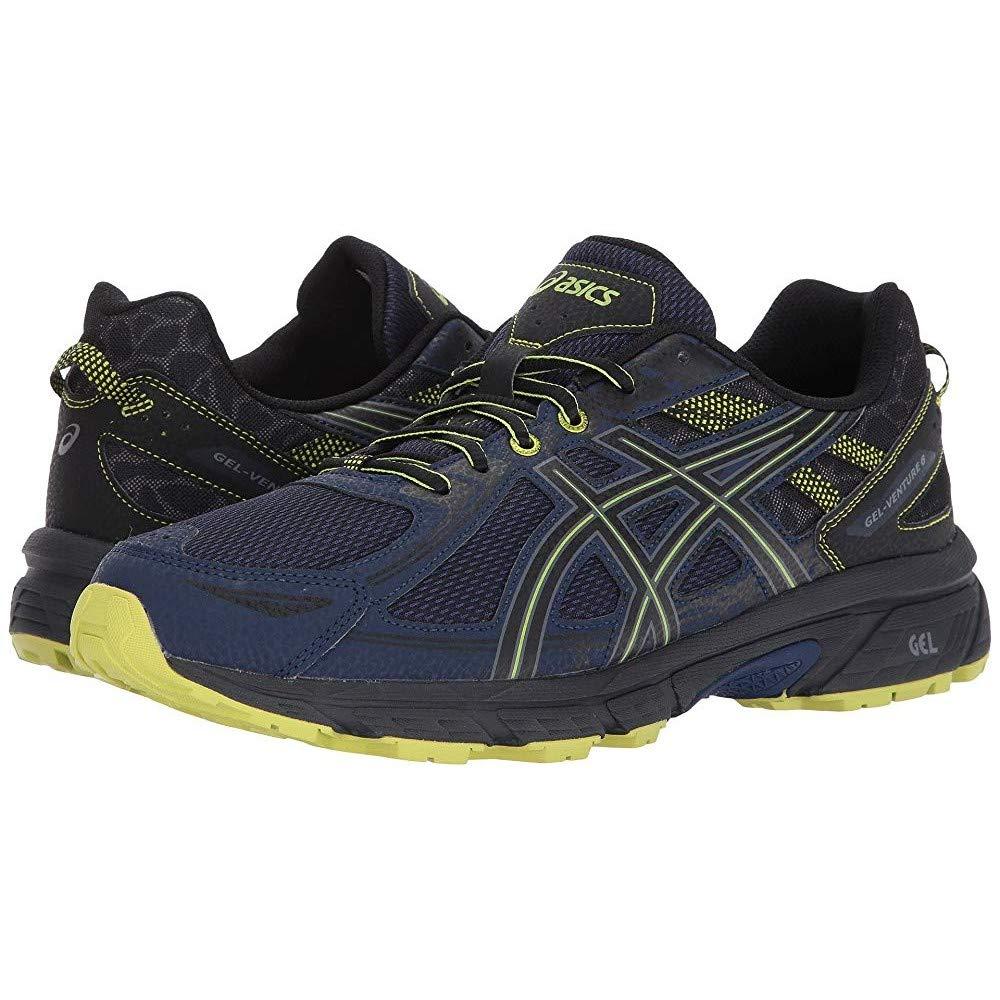ASICS Mens Gel-Venture 6 Running Shoe, Indigo Blue/Black/Energy Green, 7