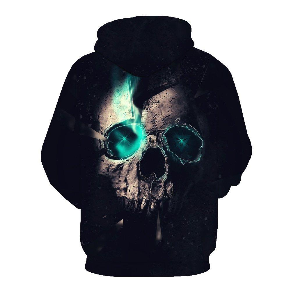 Unisex 3D Printed Hooded Skull Pattern Mens Baseball Uniform Large Pocket Sports Breathable Sweater Pullover