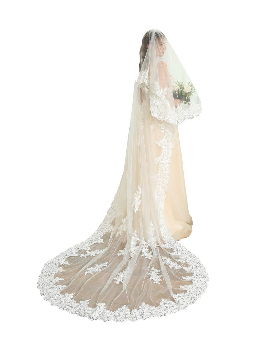 Kelaixiang 2T 2 Tiers Lace Edge Wedding Veil Cathedral Length (Ivory, 4m length)