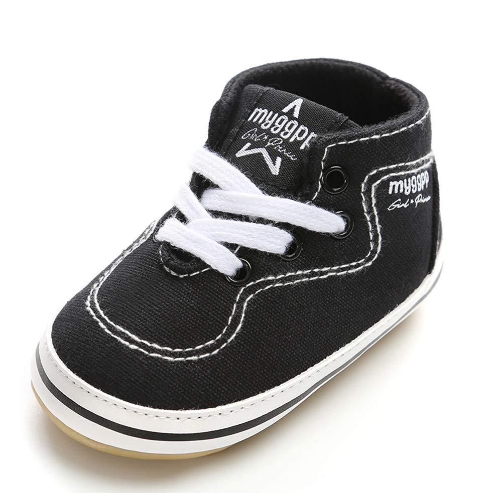 Isbasic Baby Boy Girl Canvas High Top Sneakers Infant Toddler Soft Sole First Walkers Shoes (12-18 Months, black4)