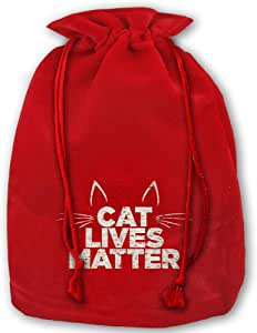 Cat-lives-matter Red Velvet Drawstring Christmas Decoration Large Santa Claus Gift Stocking Presents Bag Sack For Christmas Wedding Gifts