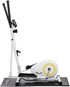 Doufit Elliptical Machine for Home Use, Portable Elliptical Trainer for Home Gym Aerobic Exercise, Cardio Fitness Equipment with LCD Monitor,