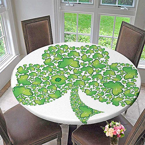 Patterns Trinity (Luxury round table cloth for home use Collection Irish Shamrock Figure Made with Small Clover Patterns Holy Trinity Symbol Graphic for Buffet Table, Holiday Dinner 59