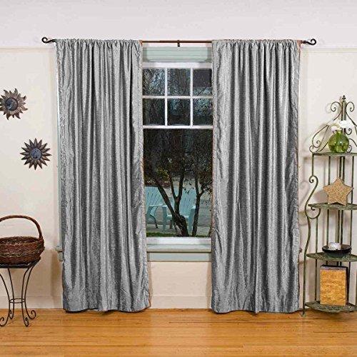 - Fabricart Window   Door Curtains Heavy-Soft Velvet Lined Rodpocket Panels- 2 pcs-50'' w X 120'' h-Silver