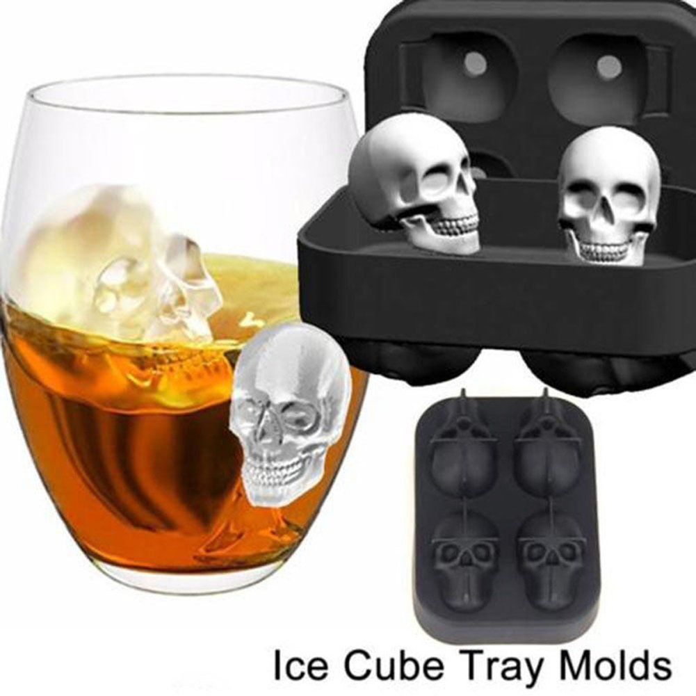 3D Skull Head Ice Cube Mold Halloween Home Bar Silicone Ice Cube Tray Chocolate Maker Moulds Kitchen Tools(You Will Get Five Silicone Mold),Black