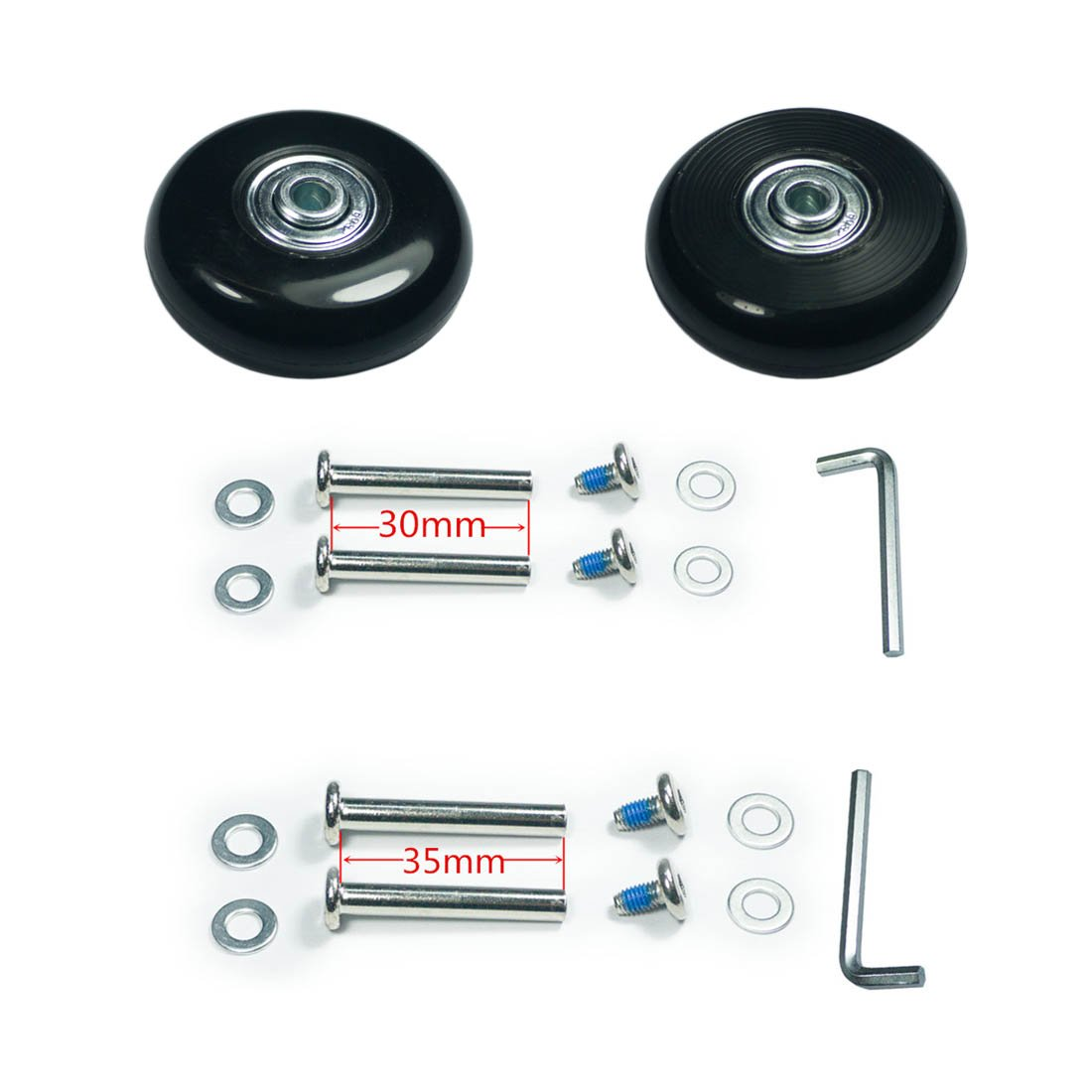 YongXuan Mute Wear-Resistant Luggage Suitcase Replacement Wheels Kit 54mm /× 18mm