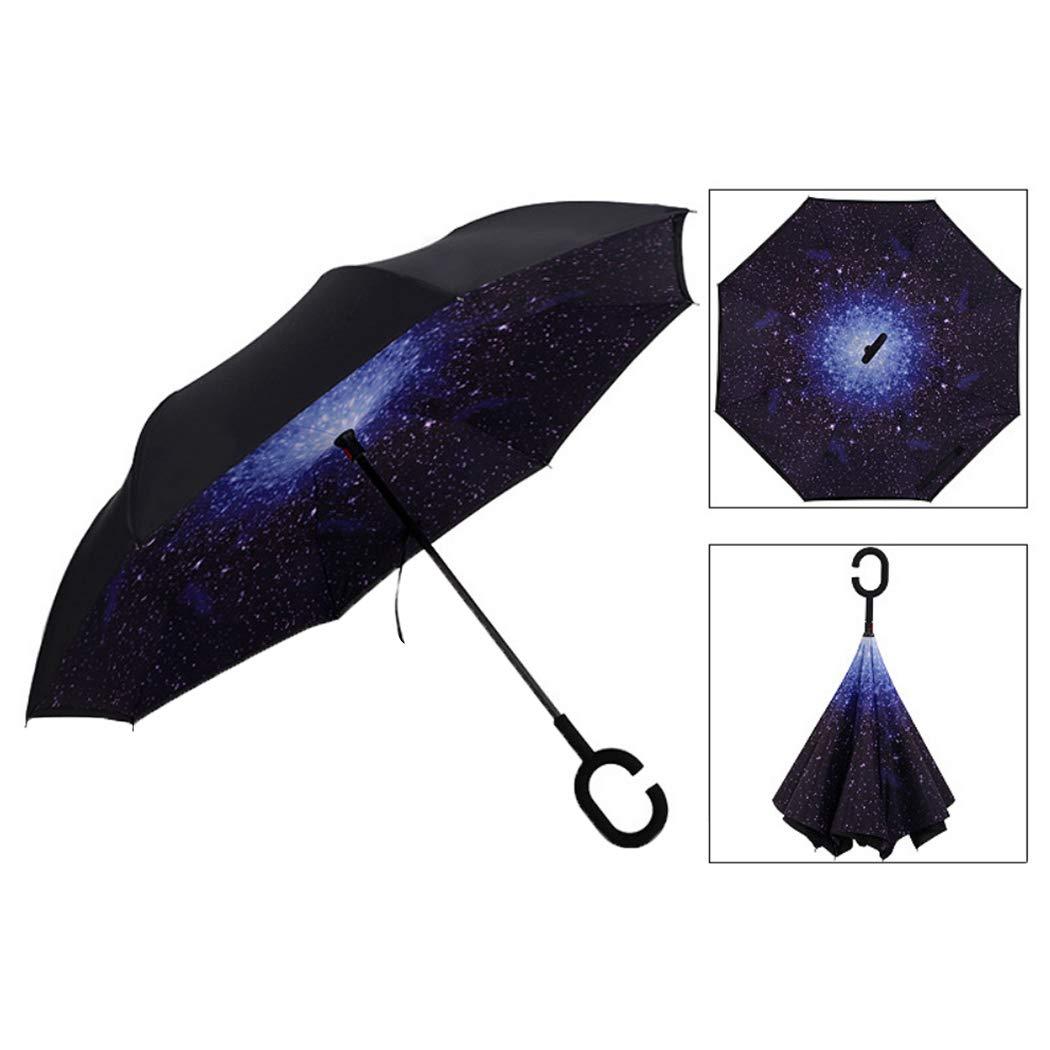 Qukidy Creative Reverse Double Layer Umbrella Windproof Car Standing Rain Protection Stick Umbrellas