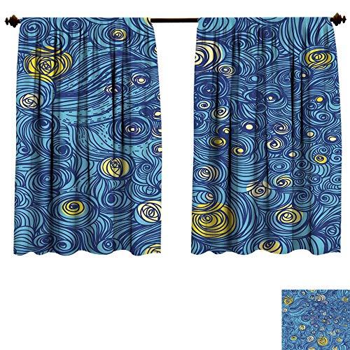 homehot Black Out Window Curtain Van Gogh Sky Drapes Panels
