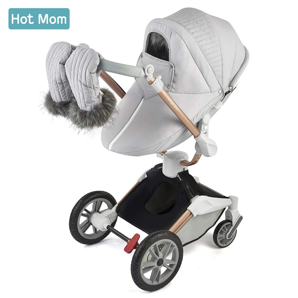 Hot Mom 360 Rotation Stroller Winter outkit with Footmuff & Winter Gloves Thickened Canopy for Pushchair F023
