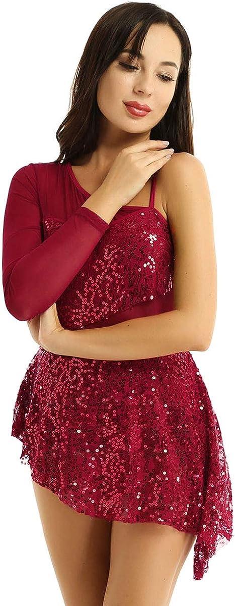 Yeahdor Womens Adults Shiny Sequin Asymmetric Lyrical Ballet Dance Leotard Dress Mesh Panels Costume