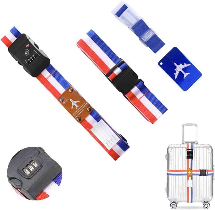 O'woda Correas de Equipaje,2 Cinturón Seguridad Maleta con Candado de Combinación+1Correas Elásticas+1 Etiquetas de Equipaje para el Cierre Seguro de Su Maleta e Identificar su Equipaje(Rojo Azul)