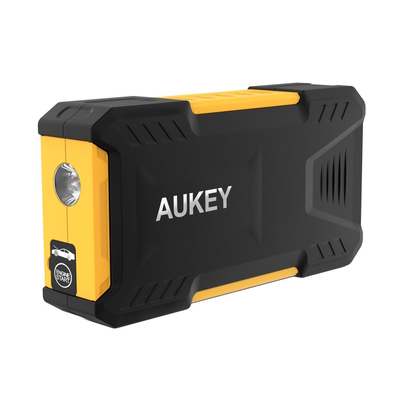 Aukey PB-C9 - Arrancador de emergencia portátil para coche (batería externa de 16500 mAh, pantalla LCD) color negro