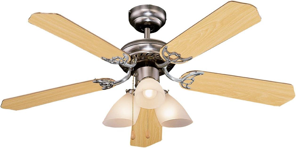 Orbegozo CT 12105 Ventilador de techo con luz, 5 palas reversibles, diámetro 105 cm, potencia de 55 W y 3 velocidades